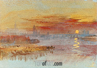 Sunset on Rouen, undated | J. M. W. Turner| Painting Reproduction