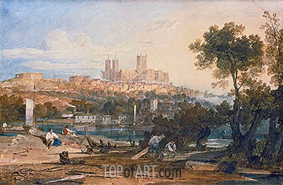 Lincoln Cathedral from the Holmes, Brayford, c.1802/03 | J. M. W. Turner | Painting Reproduction