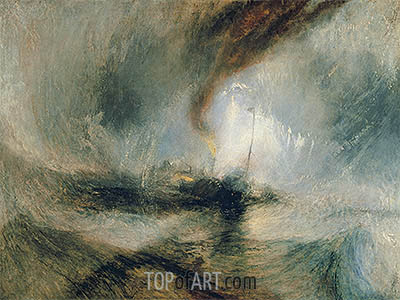 Snow Storm - Steam-Boat off a Harbour's Mouth, 1842 | J. M. W. Turner| Painting Reproduction
