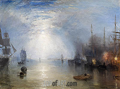 Keelmen Heaving in Coals by Moonlight, 1835 | J. M. W. Turner| Painting Reproduction