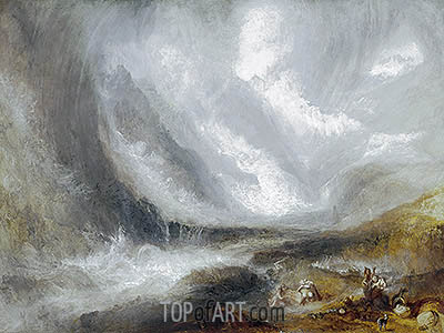 Valley of Aosta: Snowstorm, Avalanche and Thunderstorm, c.1836/37 | J. M. W. Turner | Gemälde Reproduktion