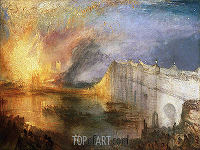 The Burning of the Houses of Lords and Commons, October 16, 1834, c.1834/35 | J. M. W. Turner | Gemälde Reproduktion
