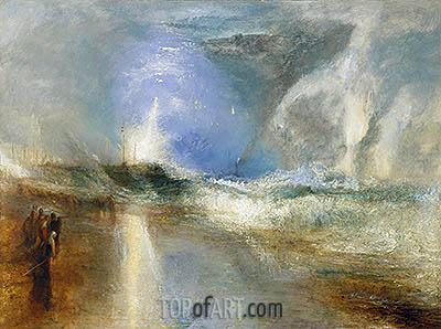 Rockets and Blue Lights (Close at Hand)   to Warn Steamboats of Shoal Water, 1840 | J. M. W. Turner | Painting Reproduction