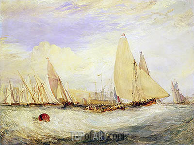 J. M. W. Turner | East Cowes Castle, the Seat of J. Nash, Esq., the Regatta Beating to Windward, 1828