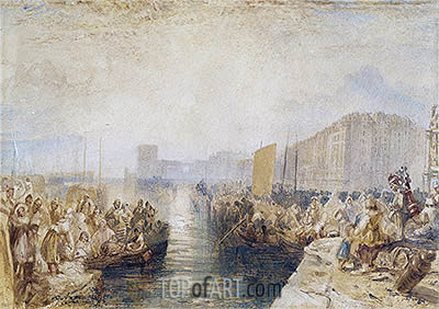 Le Havre: Sunset, c.1827 | J. M. W. Turner| Painting Reproduction