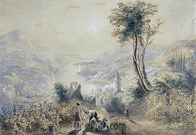 Berncastle (Oberwesel), undated | J. M. W. Turner| Painting Reproduction