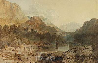 Borrowdale, Rosthwaite Bridge and Castle Crag, c.1798/99 | J. M. W. Turner| Painting Reproduction