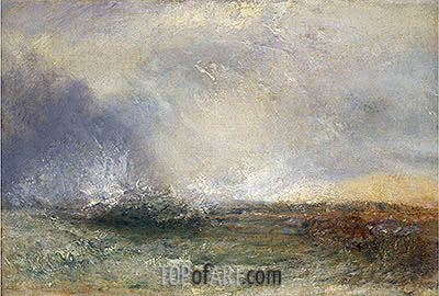 Stormy Sea Breaking on a Shore, undated | J. M. W. Turner| Painting Reproduction