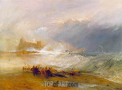 Wreckers, Coast of Northumberland with a Steam-Boat Assisting a Ship off Shore, undated | J. M. W. Turner| Painting Reproduction