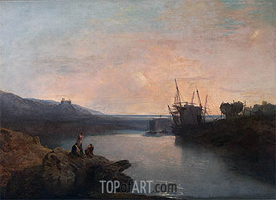 Harlech Castle from Twgwyn Ferry, Summer's Evening Twilight, undated | J. M. W. Turner| Painting Reproduction
