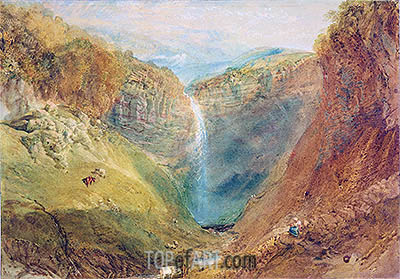 Hardraw Fall, Yorkshire, c.1820 | J. M. W. Turner| Painting Reproduction