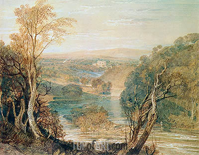 The River Wharfe with a Distant View of Barden Tower, undated | J. M. W. Turner | Gemälde Reproduktion