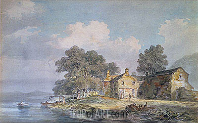 A Farmhouse by a Lake in the Lake District, c.1797 | J. M. W. Turner | Painting Reproduction