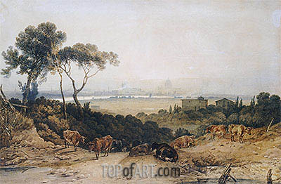 London: Autumnal Morning, View from Clapham Common Towards Westminster, undated | J. M. W. Turner| Painting Reproduction