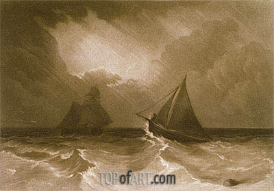 Ship and Cutter, from the (Little Liber), c.1826 | J. M. W. Turner| Painting Reproduction