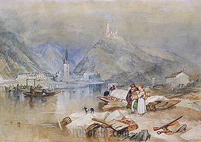 Bern Castel on the Moselle with the Ruins of Landshut, c.1834 | J. M. W. Turner | Painting Reproduction