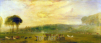 The Lake, Petworth: Sunset, Fighting Bucks, c.1829 | J. M. W. Turner| Gemälde Reproduktion