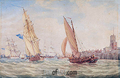 J. M. W. Turner | Three Sloops of War and a Fishing Smack going into Harbour, Portsmouth, c.1800/30