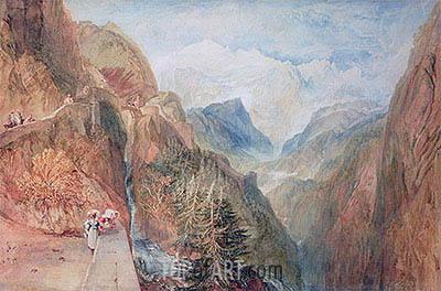 Mont Blanc from Fort Rock in Val D'Aosta, c.1810 | J. M. W. Turner| Painting Reproduction