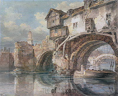Old Welsh Bridge, Shrewsbury, 1794 | J. M. W. Turner | Painting Reproduction