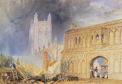 Malvern Abbey and Gate, Worcestershire, c.1830 | J. M. W. Turner| Painting Reproduction