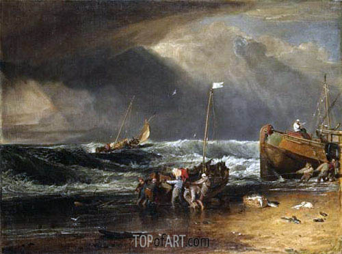 A Coast Scene with Fishermen Hauling a Boat Ashore (The Iveagh Seapiece), c.1803/04 | J. M. W. Turner | Gemälde Reproduktion