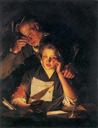 A Girl reading a Letter with an Old Man, c.1767/70 von Wright of Derby | Gemälde-Reproduktion