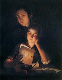 A Girl reading a Letter by Candlelight with a Young Man, c.1760/62 von Wright of Derby | Gemälde-Reproduktion