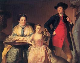 Portrait of James and Mary Shuttleworth with one of their Daughters, c.1764 by Wright of Derby | Painting Reproduction