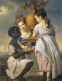 A Conversation of Girls (Two Girls with their Black Servant), 1770 von Wright of Derby | Gemälde-Reproduktion