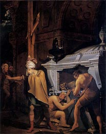 Miravan Breaking Open the Tomb of his Ancestors, 1772 by Wright of Derby | Painting Reproduction
