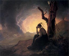 The Widow of Indian Chief Watching the Arms of her Deceased Husband, 1785 by Wright of Derby | Painting Reproduction