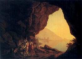 A Grotto by the Sea Side in the Kingdom of Naples with Banditti a Sunset | Wright of Derby | outdated