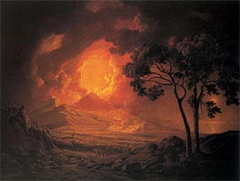 An Eruption of Mout Vesuvius with the Procession of St Januarius's Head, 1778 by Wright of Derby | Painting Reproduction