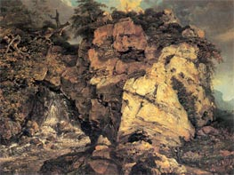 Rocks with Waterfall, c.1772 by Wright of Derby | Painting Reproduction