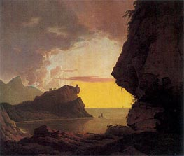 Sunset on the Coast near Naples, c.1785/90 by Wright of Derby | Painting Reproduction