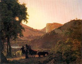 Landscape with Figures and a Tilted Cart, Matlock High Tor in the Distance, c.1790 by Wright of Derby | Painting Reproduction