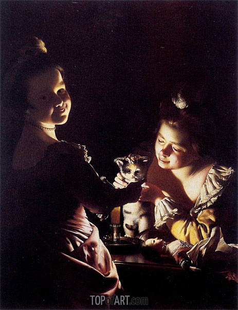 Two Girls Dressing a Kitten by Cadlelight, c.1768/70 | Wright of Derby | Painting Reproduction