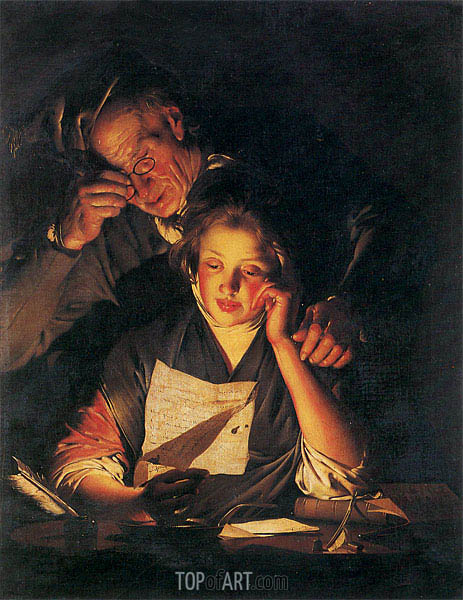 A Girl reading a Letter with an Old Man, c.1767/70 | Wright of Derby | Gemälde Reproduktion