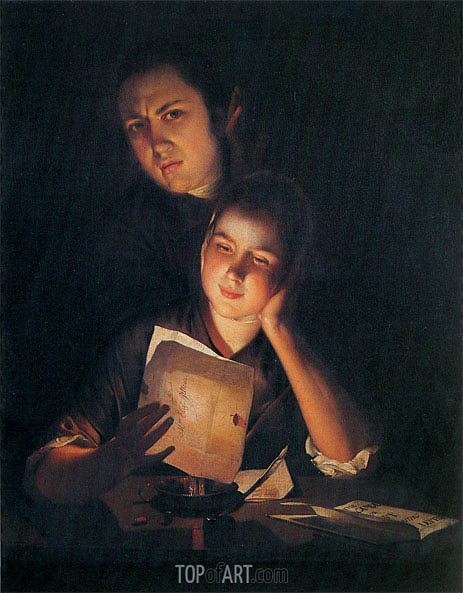 Wright of Derby | A Girl reading a Letter by Candlelight with a Young Man, c.1760/62