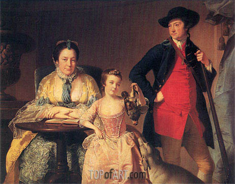 Portrait of James and Mary Shuttleworth with one of their Daughters, c.1764 | Wright of Derby | Gemälde Reproduktion