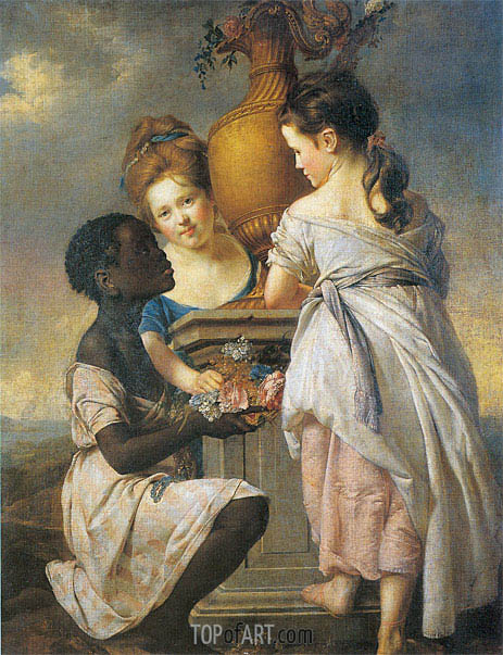 A Conversation of Girls (Two Girls with their Black Servant), 1770 | Wright of Derby | Painting Reproduction