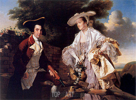 Portrait of Perez Burdett and his First Wife Hannah, 1765 | Wright of Derby | Painting Reproduction