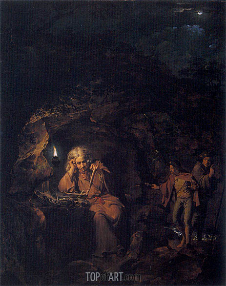 A Philosopher by Lamp Light, 1769 | Wright of Derby | Painting Reproduction