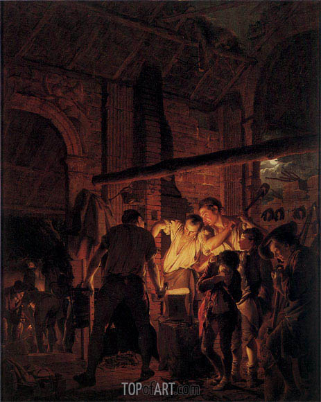 Wright of Derby | A Blacksmith's Shop, 1771