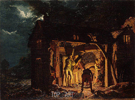 The Iron Forge Viewed from Without, 1773 | Wright of Derby | Painting Reproduction