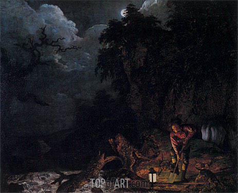 The Earthstopper on the Banks of the Derwent, 1773 | Wright of Derby | Painting Reproduction