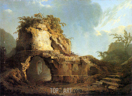 Virgil's Tomb Sun Breaking through a Cloud, 1785 | Wright of Derby | Painting Reproduction