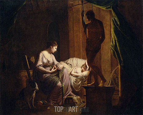 Penelope Unraveling Her Web by Lamp Light, 1785 | Wright of Derby | Painting Reproduction