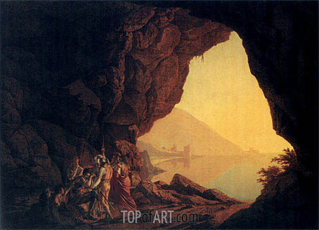 A Grotto by the Sea Side in the Kingdom of Naples with Banditti a Sunset, 1778 | Wright of Derby | Painting Reproduction